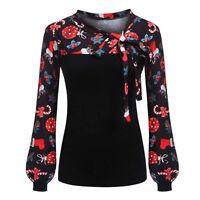Christmas Fashion Women Ladies Casual Xmas Print Long Sleeve Shirts Tops Blouse