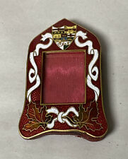 ANTIQUE ART NOUVEAU BRASS  RED GUILLOCHE ENAMEL LEAF COA MINIATURE PICTURE FRAME