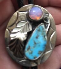 Vintage Native American Sterling Silver, Turquoise & Fire Opal Bolo Tie