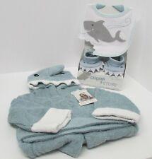 Baby Aspen Shark Gift Bundle - Shark Bib & Booties and Shark Robe Blue
