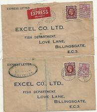 1935 PETWORTH & HEMEL HEMPSTEAD 7½d EXPRESS COVERS> EXCEL & Co FISH BILLINGSGATE