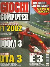 GIOCHI PER IL MIO PC n. 66 del 2002 (F1 2002, Doom 3, GTA 3...)