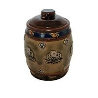 Antique Royal Doulton Tobacco Jar Humidor Lid Pottery Stoneware England Flowers
