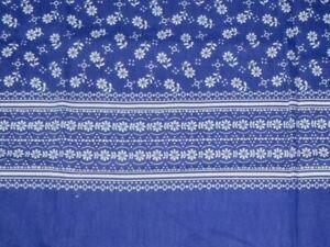 "Vtg Floral Border Print Cotton Fabric Blue White 44w x 43"" L"