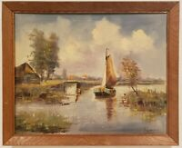 "Oil Painting on Canvas Sailboat River Scene Signed Framed Art  (18"" x 22.5"")"