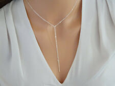 Silver Lariat Choker Necklace Bar Charm Dainty Y Drop Simple NEW