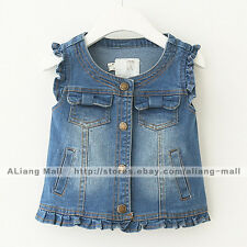Girls Baby Denim Vest Sleeveless Clothing Kids Cotton Shirt Clothes All Seasons