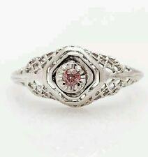 Antique 1930s .20ct Old Euro Genuine PINK Diamond 14k White Gold Filigree Ring