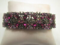 Vintage Purple Flower Rhinestone  Stretchy Bracelet