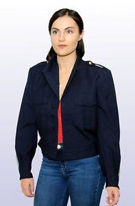 "Vintage French Air Force Blue Wool Ike Jacket Military Surplus SuperGrade 39"""