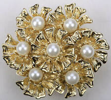 FLORAL CLUSTER FAUX PEARL   STRETCH RING