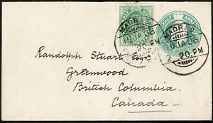 INDIA 190 EDVII STAMPD COVER +1/2A GRN STAMP MADRAS TO GREENWOOD, BRIT,COLUMBIA