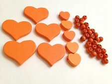 35mm and 18mm New Orange Flat Wood Hearts Side Drilled and Beads