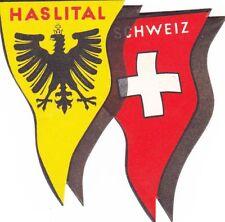 A) Original Vintage Luggage Label HASLITAL SCHWEIZ Kofferaufkleber EB 702