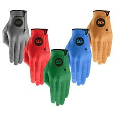 SG Men colored cabretta leather golf gloves premium quality in multi colours
