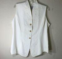 Kwai Womens Decorative Vest Rayon Acetate Pearls & Ribbon Design White Size 12