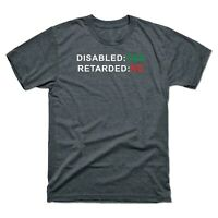 Disabled, Not Retarded! Men's Short Sleeve T Shirt Retro Cotton Tee Gift