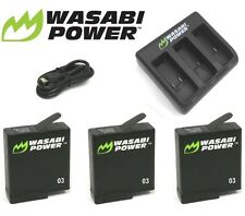 Wasabi Power Battery (1220mAh) x 3 with Triple USB Charger GoPro HERO 5 Go Pro