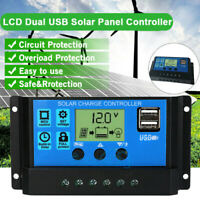 60A Solar Panel Battery Charge Controller 12V/24V LCD Regulator Auto Dual USB