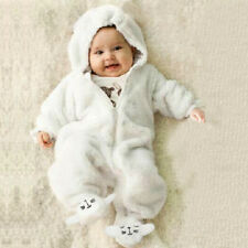 Cute Newborn Infant Baby Boy Girl Hooded Flannel Romper Jumpsuit Warm Clothes