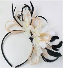Black Peach Pink Nude and Cream Fascinator Headband Wedding Race