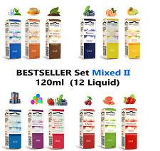 Liquid Set mit 120ml e-Zigarette eLiquid ohne + mit Nikotin Probier-Box Shisha