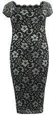 New Ladies Plus Size Contrast Floral Lace Line Bodycon Midi Dress 14-26