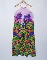 Seafolly Australia Size M Medium Pink Floral Palms Maxi Dress Gypsy Boho