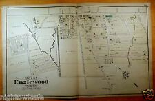 Rare 1876 Detailed Map PART OF ENGLEWOOD NJ New Jersey ORIGINAL