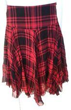 POLO RALPH LAUREN Women Skirt Black Red Checkered Silk Asymmetrical 14 NEW