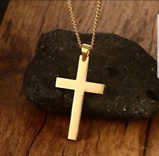 Cross Pendant Stainless Steel Titanium Necklace Mens Womens Gold, NEW,Dog Tag.