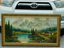 Nice Large Vintage German Mountain Alps Lake House Landscape Oil Painting Gebel