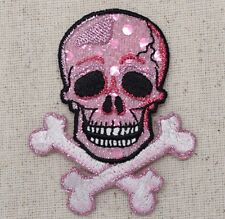 Iron On Embroidered Applique Patch Jolly Roger Pink Shimmer Skull Crossbones