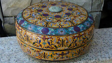 """ANTIQUE CHINESE LARGE 16""""D CLOISONNE COVERED BOX W/ DRAGON JADE INSERT IN LID #2"""