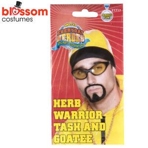 AC301 Herb Warrior Tash Goatee Beard Moustache Ali G Rapper Costume Accessory