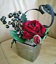 Christmas Dried Flower Pot Arrangement, Rose,Pine-cone, Berry, Floral Foam Oasis