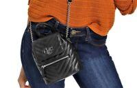 NWT GUESS CHEVRON HANDBAG Small Black Logo Crossbody Shoulder Bag GENUINE