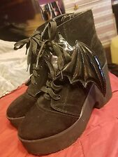 Iron Fist Black Suede Bat Wing Platform Boots - US Size 10 - Punk Goth Scene