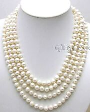"""SALE Long 80"""" Natural White 9-10mm Round natural Freshwater Pearl Necklace-1074"""