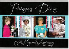 Guyana 2012 MNH Princess Diana 15th Memorial Anniverary 4v Sheet Royalty