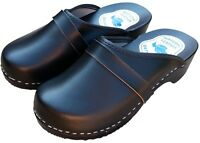 Womens Hand Made Clog Sandals Ladies Slip On Wooden Sole Leather Upper Size 6-10