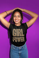 Womens FASHION T-Shirt Girl Power LEOPARD Summer Spice Girls Inspired Black Top