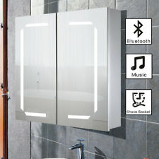 Led Bathroom Mirror Cabinet Demister Shaver Socket Bluetooth Modern Cupboard