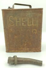 More details for vintage shell motor spirit 2 gallon petrol fuel jerry can pouring spout man cave