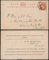 GB QV STATIONERY CARD 1889 STO WELSH SCHOOL ASHFORD USED to CHURCHSTOKE
