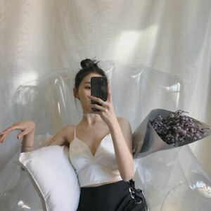 Top Women White Silk Sexy Gym Fitness Yoga Stretch Padded Bra Crop Top S