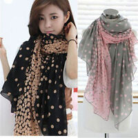 Womens Fashion Pretty Long Soft Chiffon Polka Dot Scarf Wrap Shawl Stole Scarves