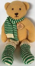 Vtg '82 Elegante Dakin Teddy Bear Plush Yellow Wool Striped Socks/Scarf Tags USA