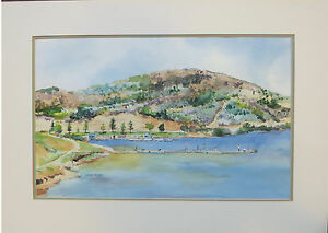 Poway Lake, California Original Watercolor - Outside mat 20 x 28 inches