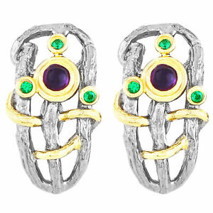 UNHEATED NATURAL 3MM AFRICAN AMETHYST & GREEN SPINEL HANDMADE SILVER 925 EARRING